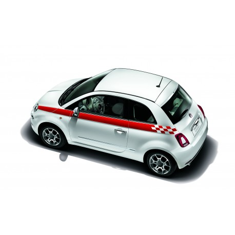 STICKERS FIAT 500 SPORT LATERAL (ROUGE)